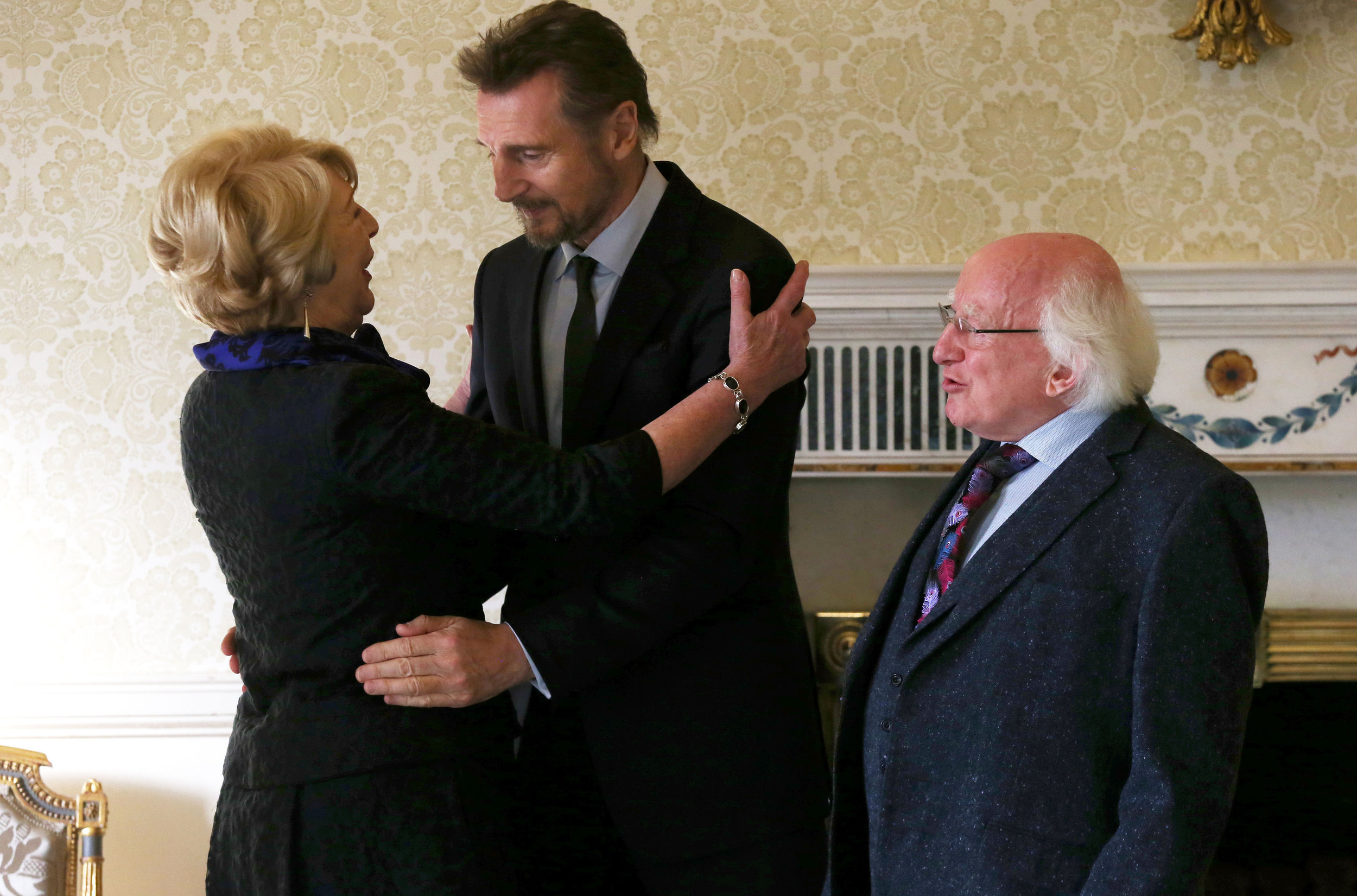 Liam Neeson at Aras an Uachtarain with President Michael D Higgins and wife Sabina. Picture: Laura Hutton