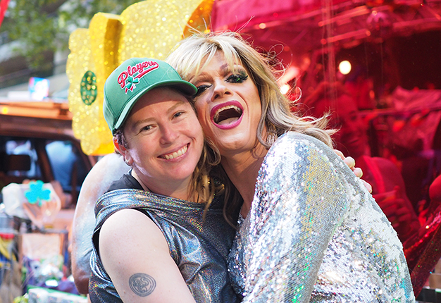 Sydney Queer Irish co-founder Loretta Cosgrove with Panti Bliss at the 2017 Mardi Gras.