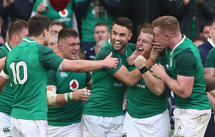 Irish players congratulate Sean Cronin after his try against Scotland.