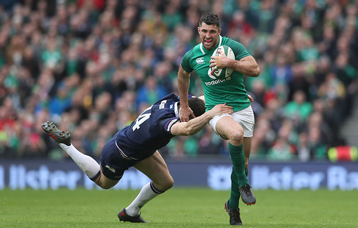 Man-of-the-match Rob Kearney on the burst against Scotland.