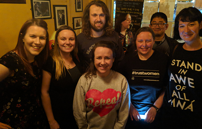 Supporting a 'yes' vote: Christine Howell, Shauna Stanley, Gary Hansell, organiser Lizzie O'Shea, Pam Lowe, Jimmy Yan and Grace Carroll at Melbourne's Drunken Poet.