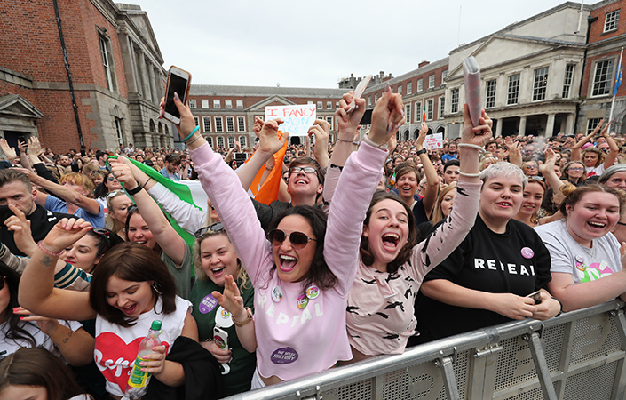 Huge crowds gathered at Dublin Castle to celebrate the result.
