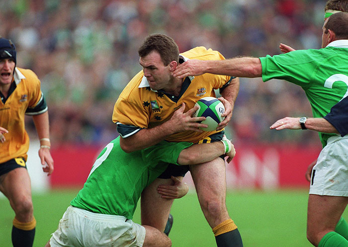 Owen Finegan in action against Ireland back in 1999.