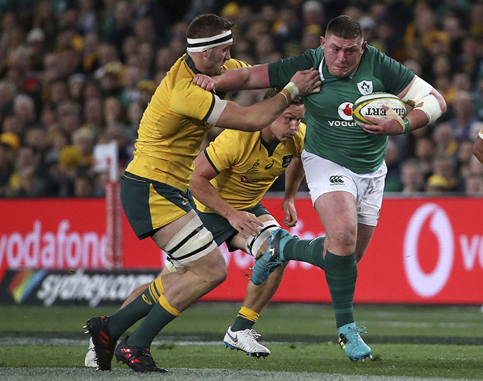 Tadhg Furlong on one of his rampaging runs against the Wallabies. Picture: Rick Rycroft