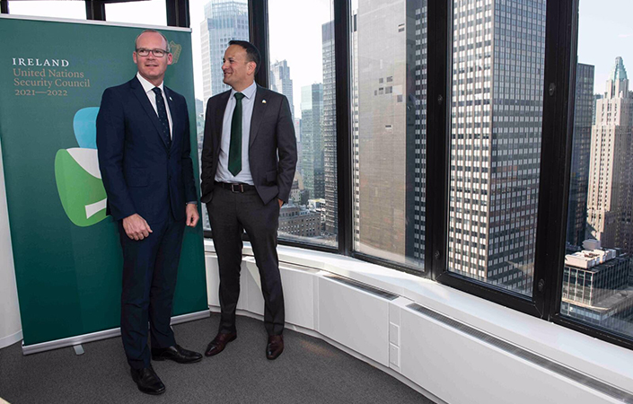 Taoiseach Leo Varadkar and Minister for Foreign Affairs Simon Coveney in New York for the launch of Ireland's bid for a seat on the UN Security Council.