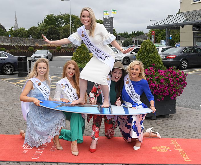 Perth Rose Laura Cannon, South Australia's Emilie Helbig, Sydney's Caitlin MacInante, Melbourne Rose Suzie Jackson and Queensland Rose Sarah Griffin-Breen on the surfboard at the K Club in Co Kildare last week. Picture: Domnick Walsh