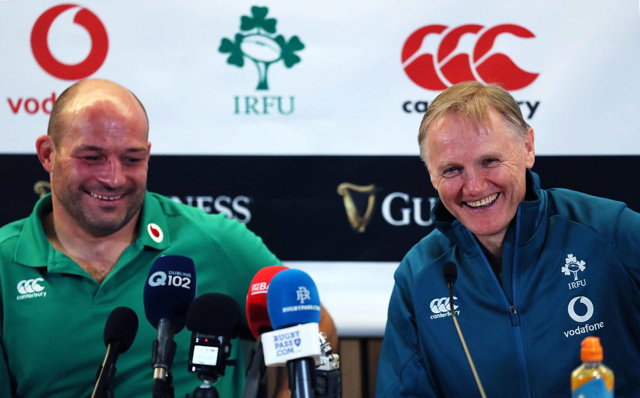 Ireland's delighted coach Joe Schmidt and captain Rory Best after the historic win.