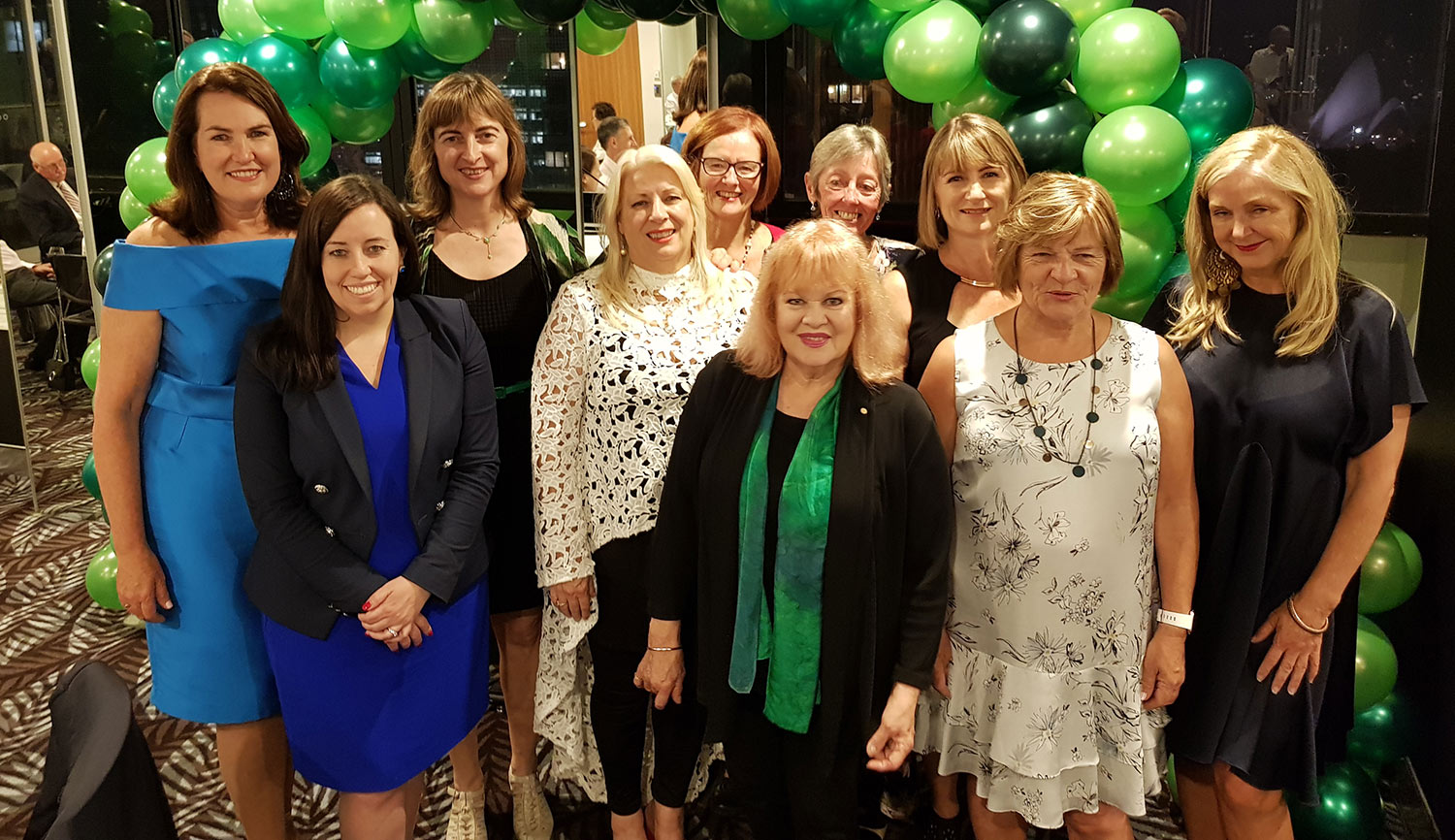 "Winners of the 2019 Brigid Awards pictured with Senator Deborah O Neill (patron, Irish Friends of Labor) and Kaila Murnain (general secretary of NSW Labor). From left to right: Deborah O Neill; Kaila Murnain; Pam O'Mahony; Mary Yaager; Genevieve Kelly; Patricia Amphlett (""Little Pattie""); Anne Murnain; Geraldine Murray; Catriona Barry and Fiona Nix."