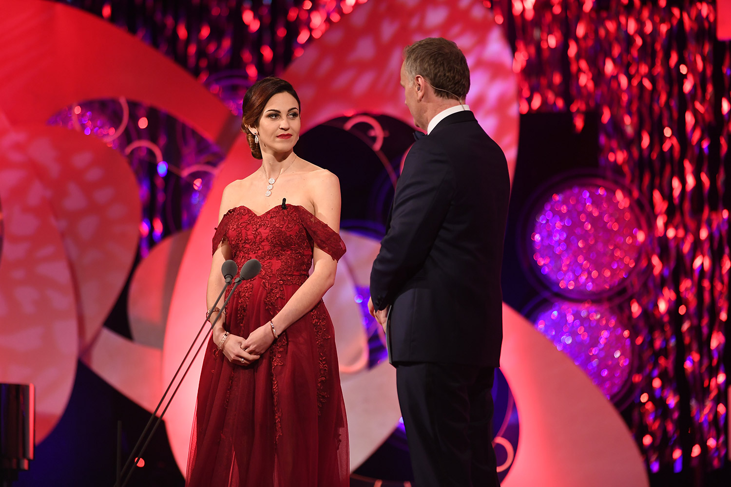 Brianna Parkins on stage with Daithi O'Sé at the Rose Of Tralee.