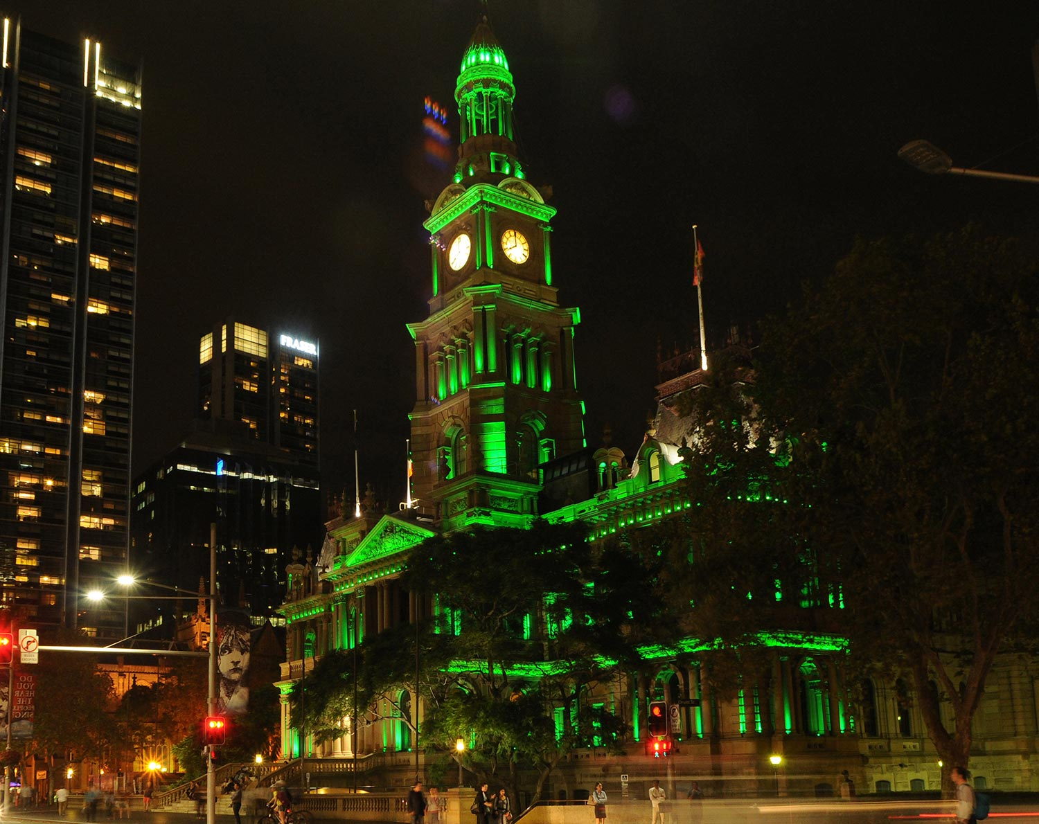 Sydney Town Hall will be lit in green to celebrate the city's Irish heritage.