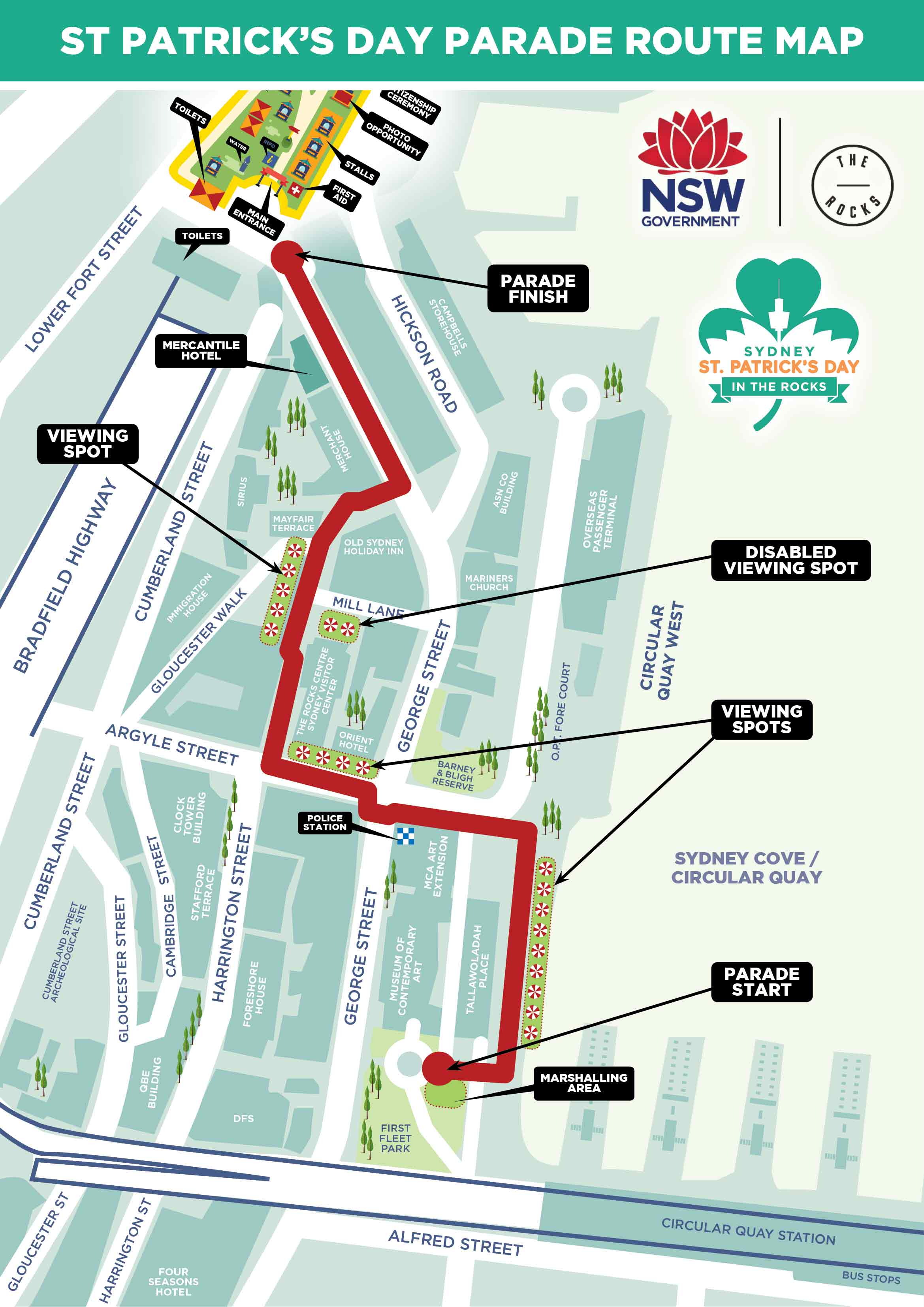 The map of the St Patricks Day Parade route for Sunday, March 17.