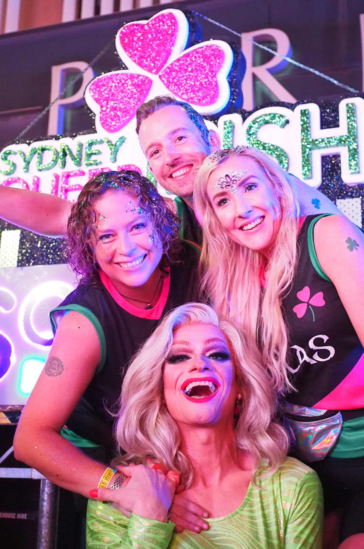 (Clockwise from left) Loretta Cosgrove, President of Sydney Queer Irish, Owen Feeney, Consul General of Ireland, Lorna Hennessy and special guest Panti Bliss.