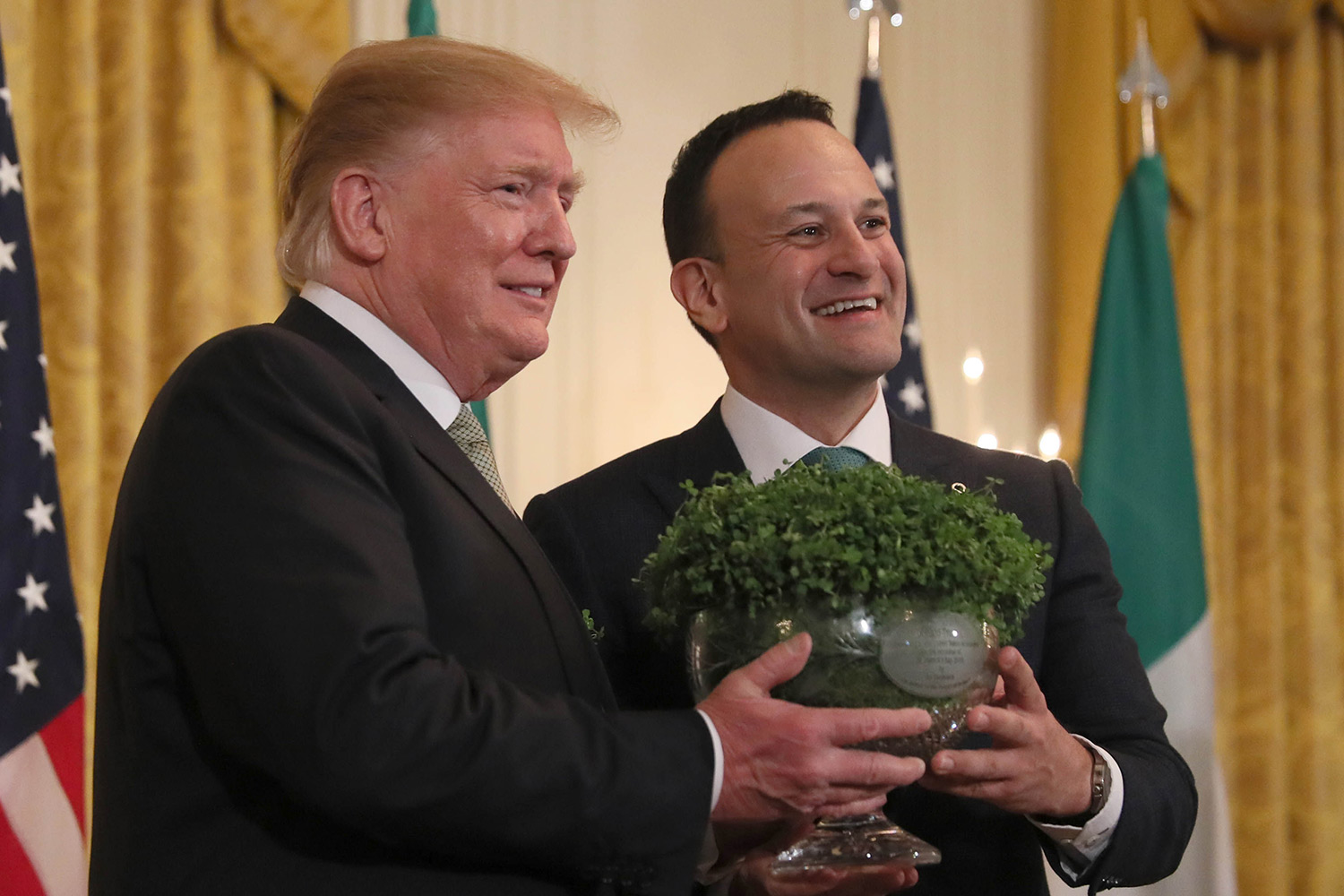 Taoiseach Leo Varadkar presents US President Donald Trump with a bowl of shamrock in Washington DC. Picture: Brian Lawless