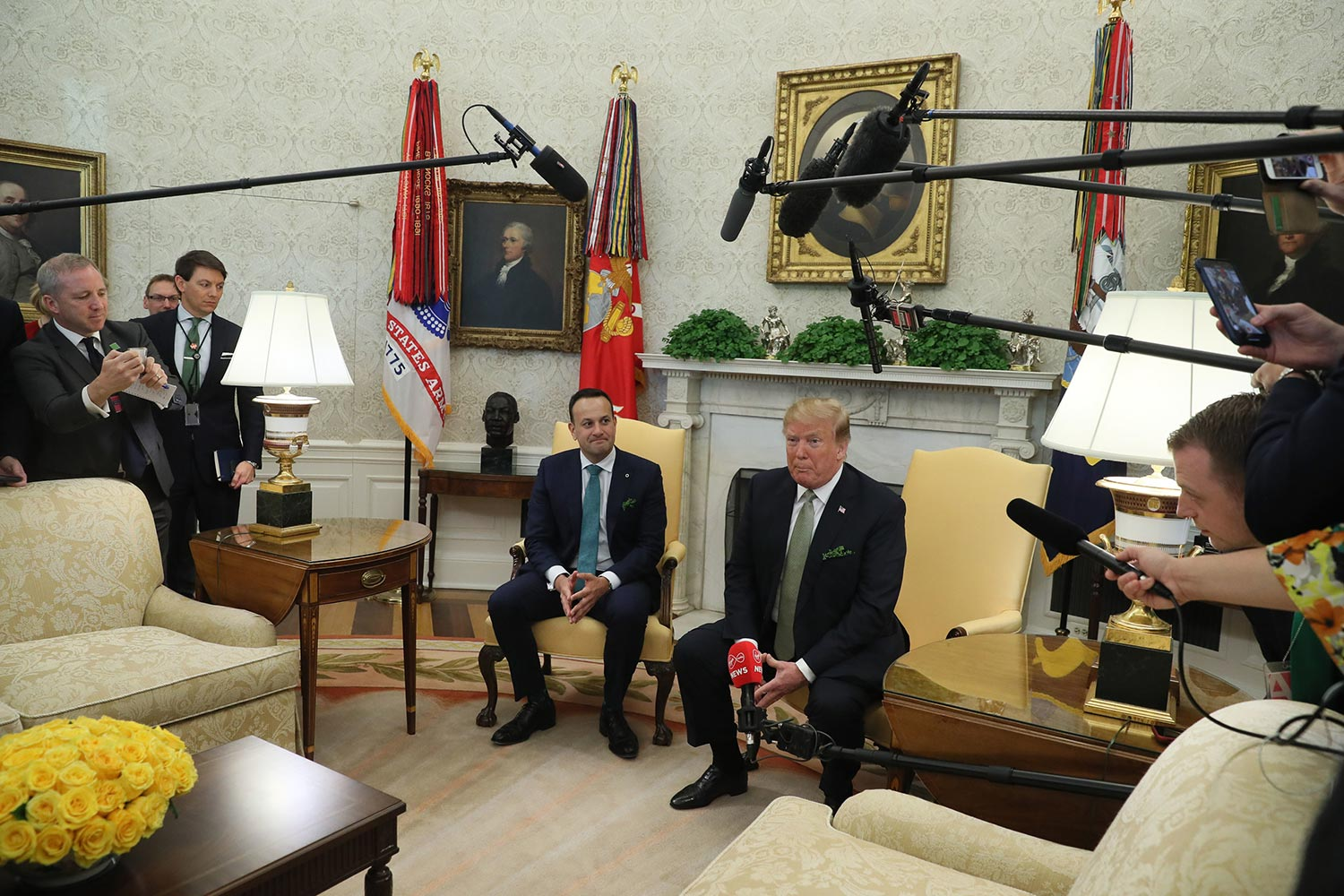 US President Donald Trump and Taoiseach Leo Varadkar in the Oval Office. Picture: Brian Lawless