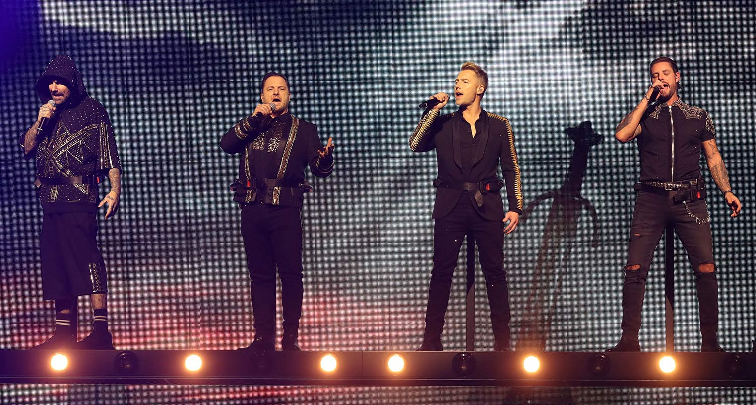 Boyzone on stage (from left) Shane Lynch, Mikey Graham, Ronan Keating and Keith Duffy.