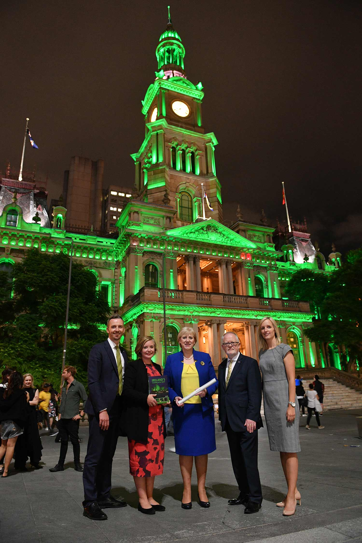 Pictured at a green-lit Sydney Town Hall are (from left): Owen Feeney, Consul General of Ireland; Linda Scott, Deputy Lord Mayor of Sydney; Heather Humphreys, Ireland's Minister for Business, Enterprise, and Innovation; Breandán Ó Caollaí, Irish Ambassador in Australia, and Sofia Hansson, director of, Tourism Ireland, Australia and New Zealand.