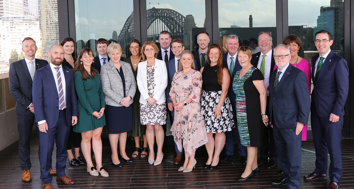 Ministeer Humphreys with diplomatic, IDA Ireland and Enterprise Ireland staff in Sydney.