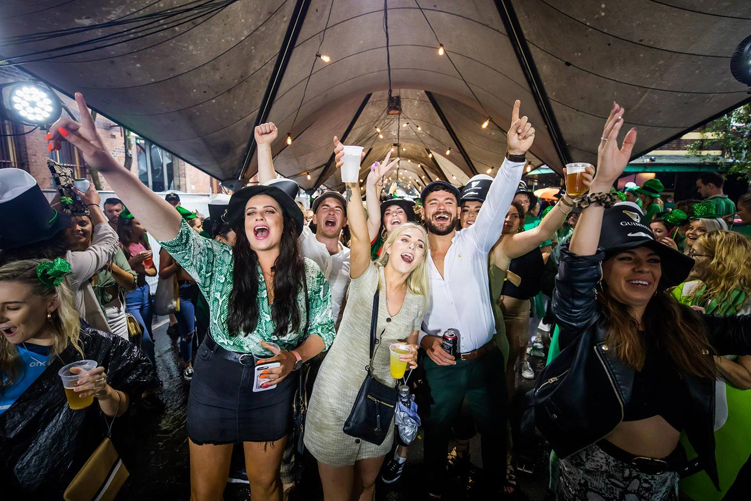 Thousands of revellers attended the Sydney St Patrick's Day festivities in The Rocks this year.