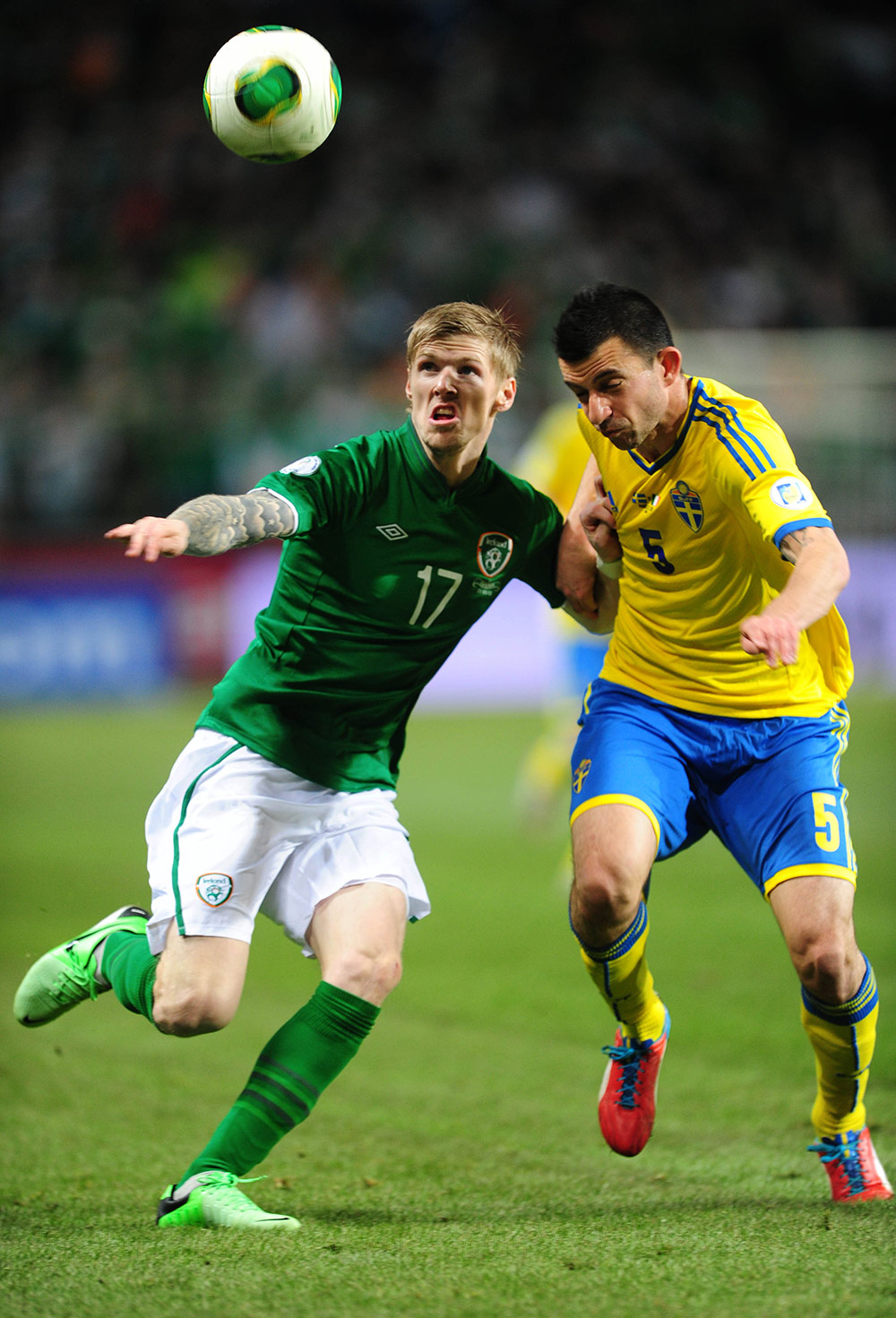 Andy Keogh in action for the Republic of Ireland against Sweden in 2013.