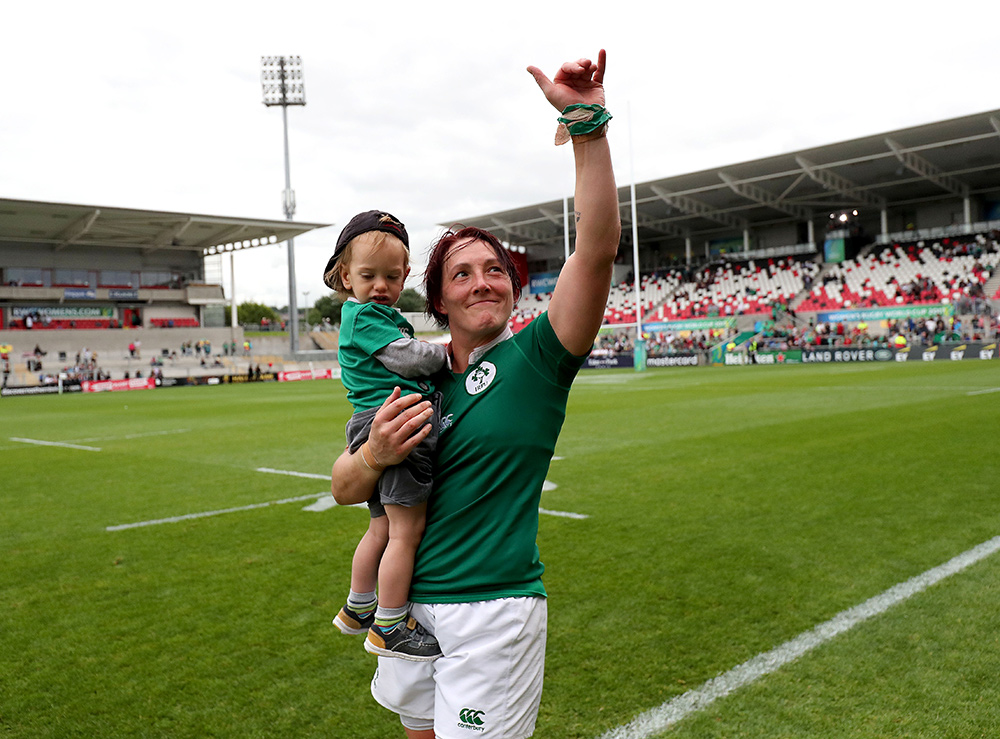 Irish rugby star Lindsay Peat with her son Barra. Picture: Inpho/Dan Sheridan