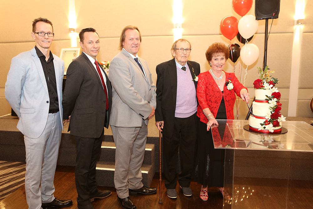 Jan Currie-Henderson at her recent Diamond Jubilee celebration with (from left) sons Craig, Andrew and Michael Henderson and husband Bob.
