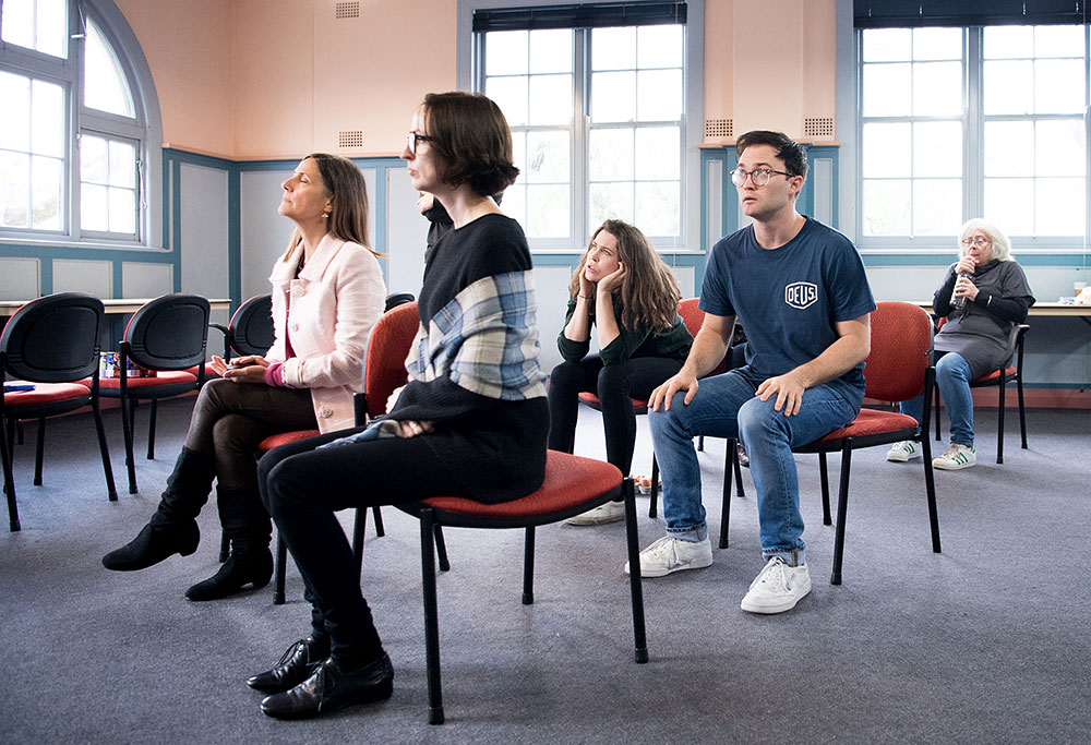 Zoe Carides, Sarah Aubrey, Jane Watt, Josh Anderson and Jude Gibson rehearse for The Cripple of Inishmaan. Picture: Marnya Rothe.