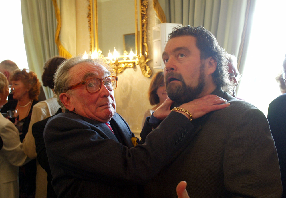 Brendan Grace with another Irish comedy legend Hal Roach, in 2002.