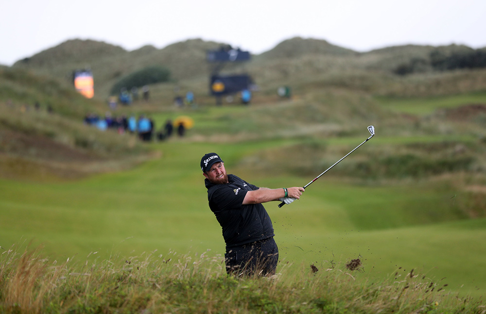 Shane Lowry during the rain-soaked final round at Royal Portrush.