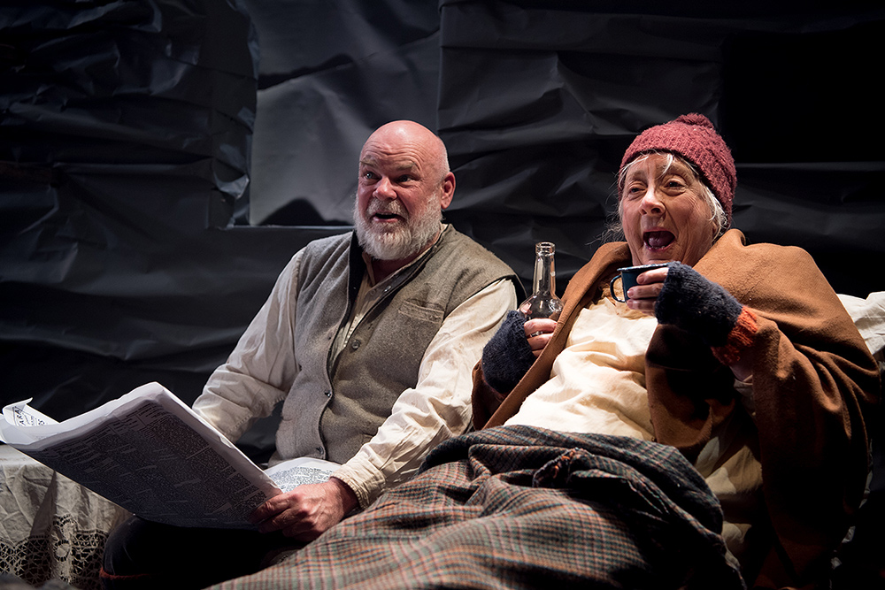 Laurence Coy as Johnnypateenmike and Jude Gibson as his mother in The Cripple Of Inishmaan. Picture: Marnya Rothe