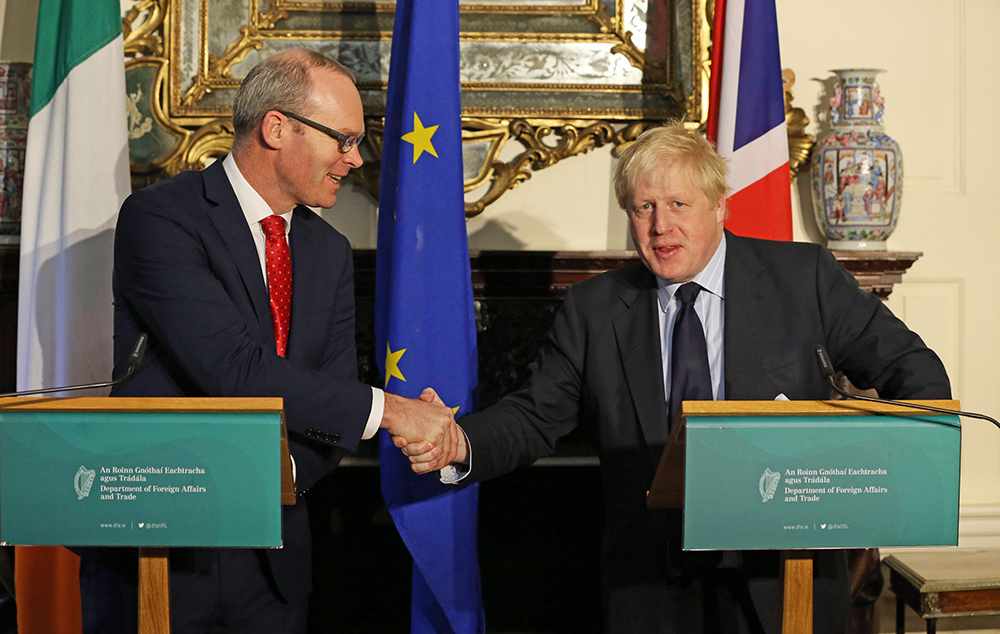 Tánaiste Simon Coveney and British Prime Minister-elect Boris Johnson pictured in Dublin in 2017. Picture: Brian Lawless
