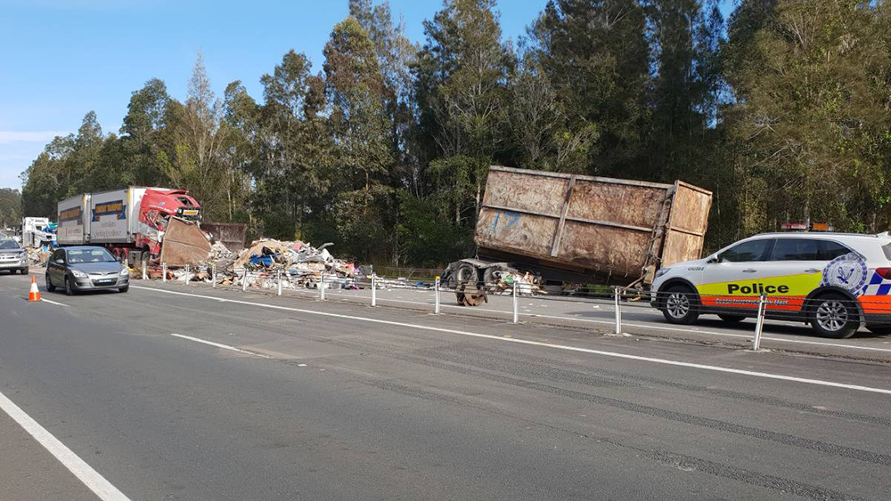 The scene of the fatal crash on Pacific Highway south of Nabiac NSW. Picture: Taffic and Highway Patrol Command.