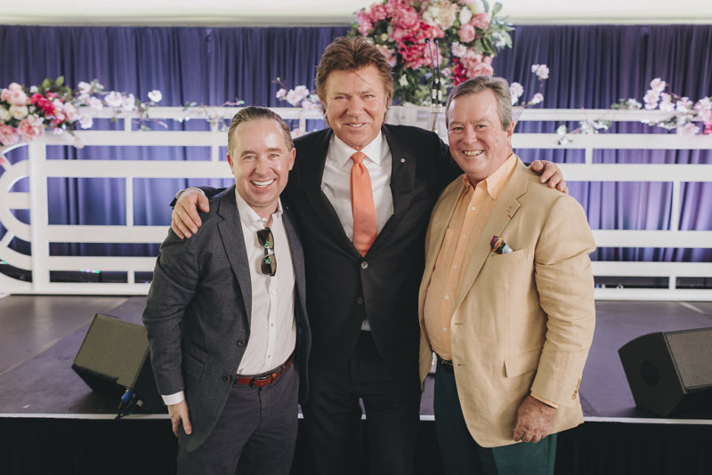 Past Ireland Funds Australia Chairman Alan Joyce and current Chairman John O'Neill (right) joined TV personality Richard Wilkins at 2017's Garden Party.