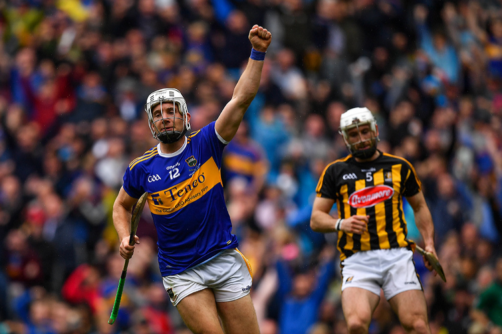 Niall O'Meara celebrates after scoring one of Tipperary's three goals in the All Ireland hurling final at Croke Park. Picture: Brendan Moran/Sportsfile
