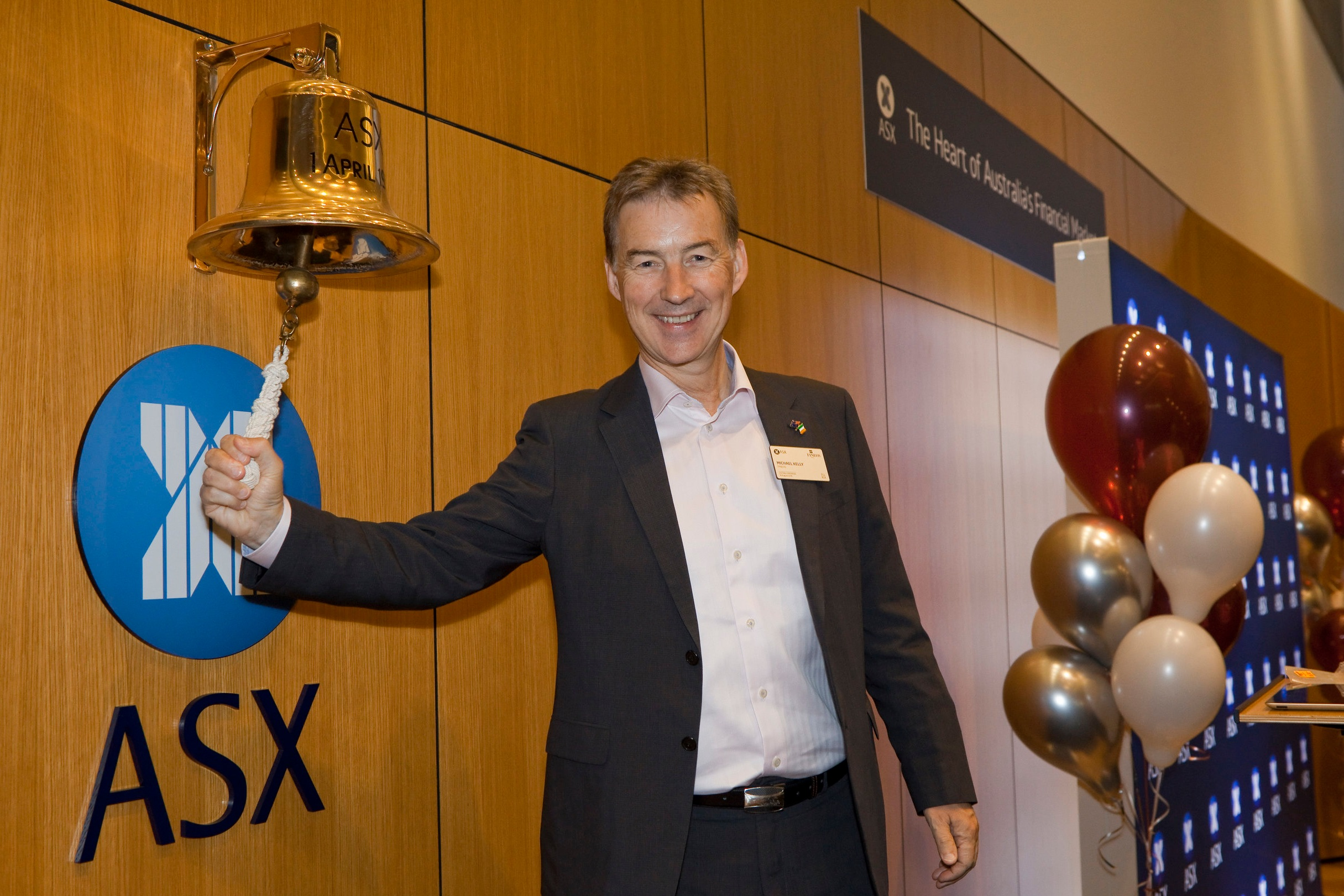 FINEOS founder Michael Kelly rang the opening bell at the ASX.