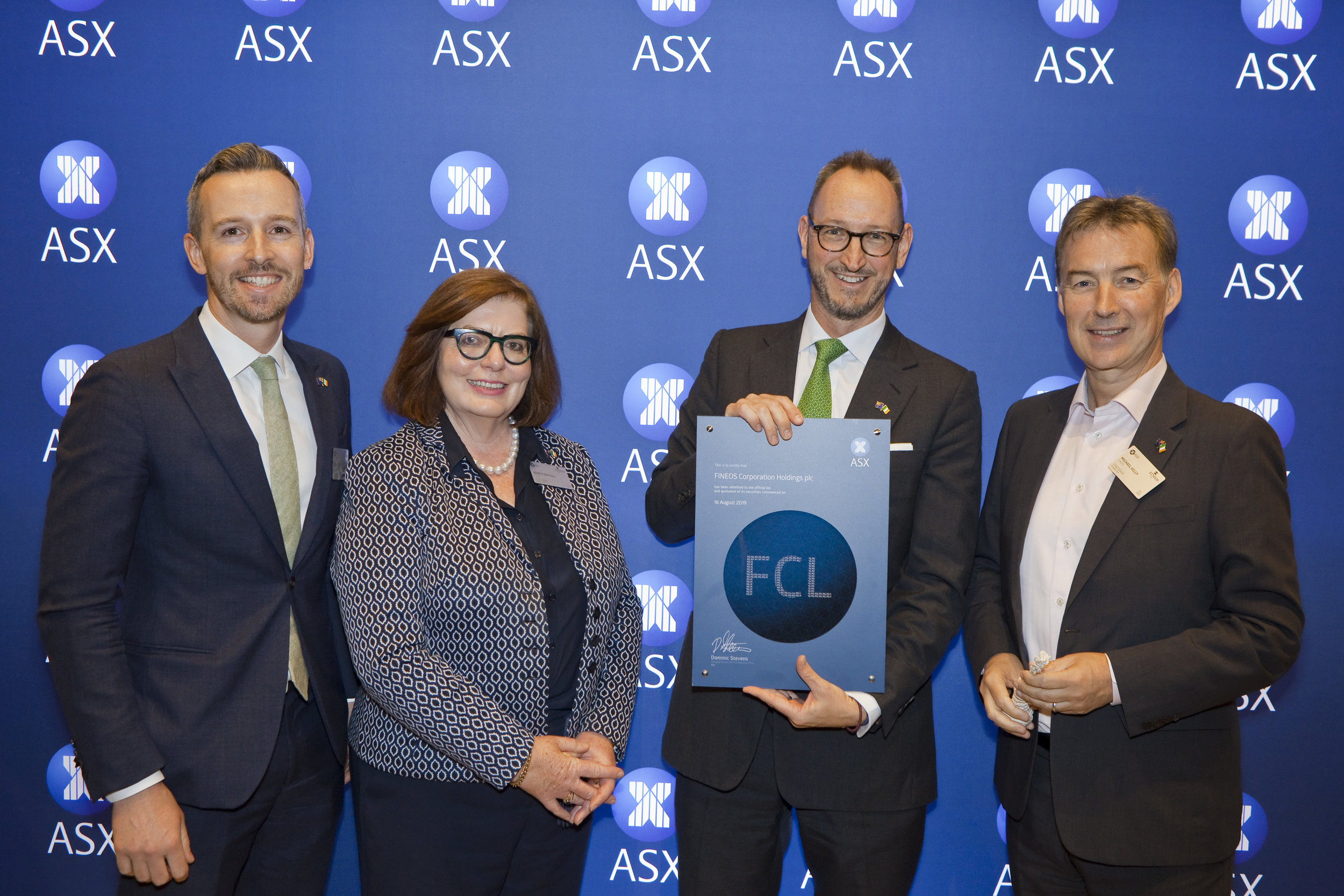 Irish Consul General Owen Feeney, FINEOS chairperson Anne Driscoll, the ASX's executive general manager of listings Max Cunningham, and CEO Michael Kelly celebrated the Irish company's connection with Australia.