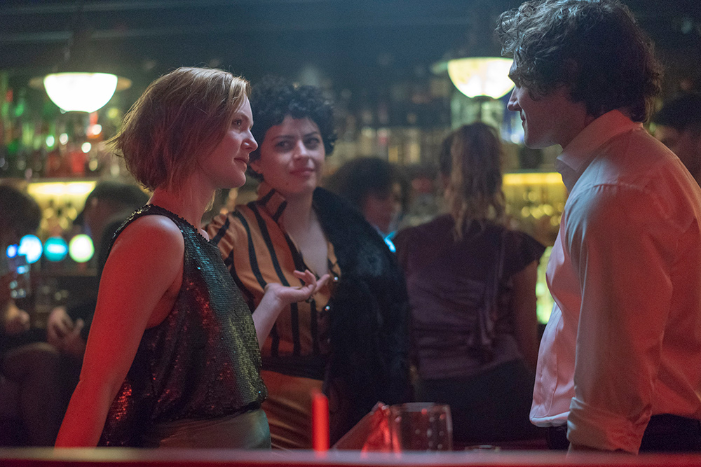 Holliday Grainger, Alia Shawkat and Irish actor Fra Fee in a scene from Animals.