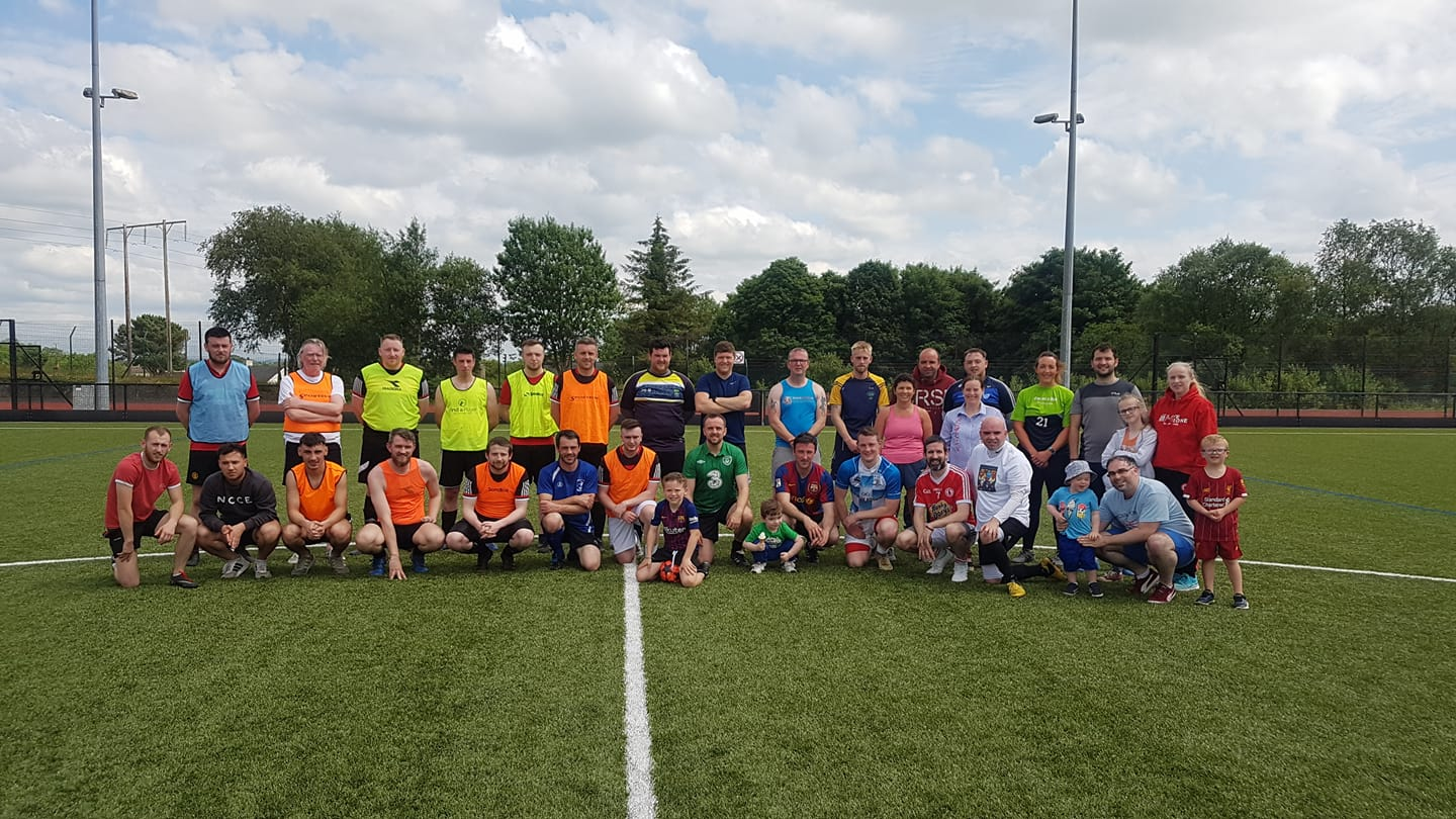 Tyrone locals gathered for a community football game to raise money for David Glass' cause.