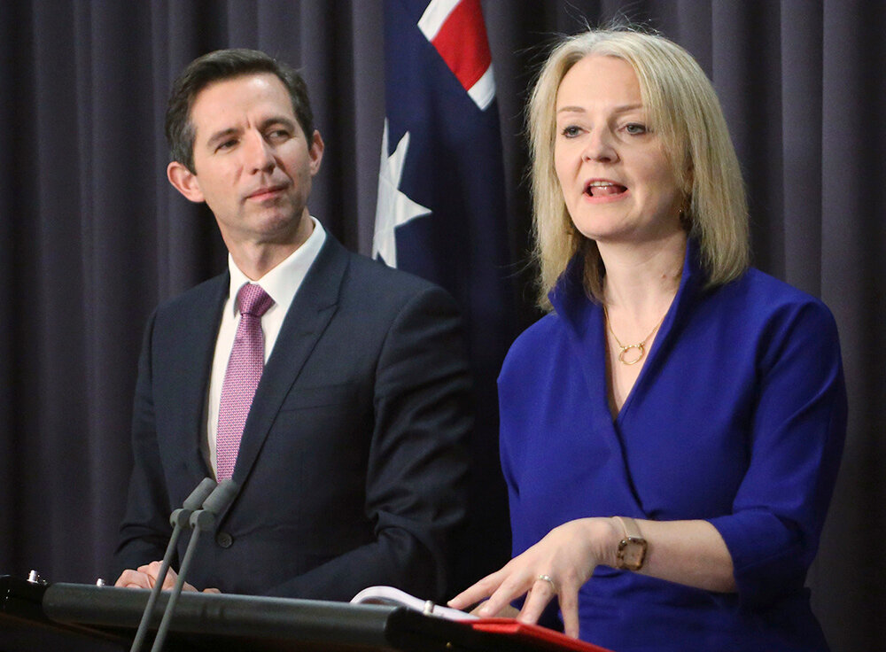 Australia's Trade Minister Simon Bermingham and his UK counterpart Liz Truss in Canberra on Wednesday. Picture: Rod McGuirk