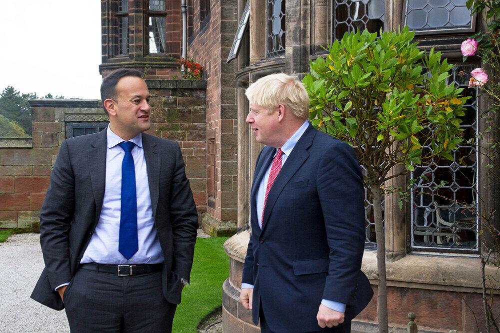 Taoiseach Leo Varadkar and British Prime Minister Boris Johnson in Wirral on Thursday.