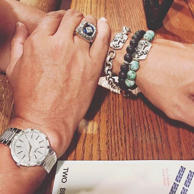 Our mens line being rocked by @23davidjustice! We love the #Piaget and #worldseries #ring combo 😉 . . . . #healingstonesjewelry  #lavarock #africanturqoise #rolo #watch #mensstyle #mensfashion #lava #holistic #friday #men #manly