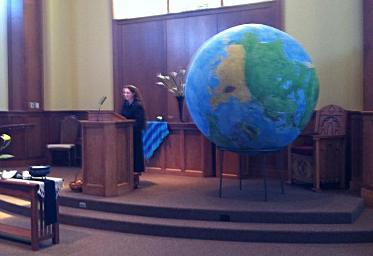 Preaching on Earth Day at the UU Church, Peoria, Illinois.