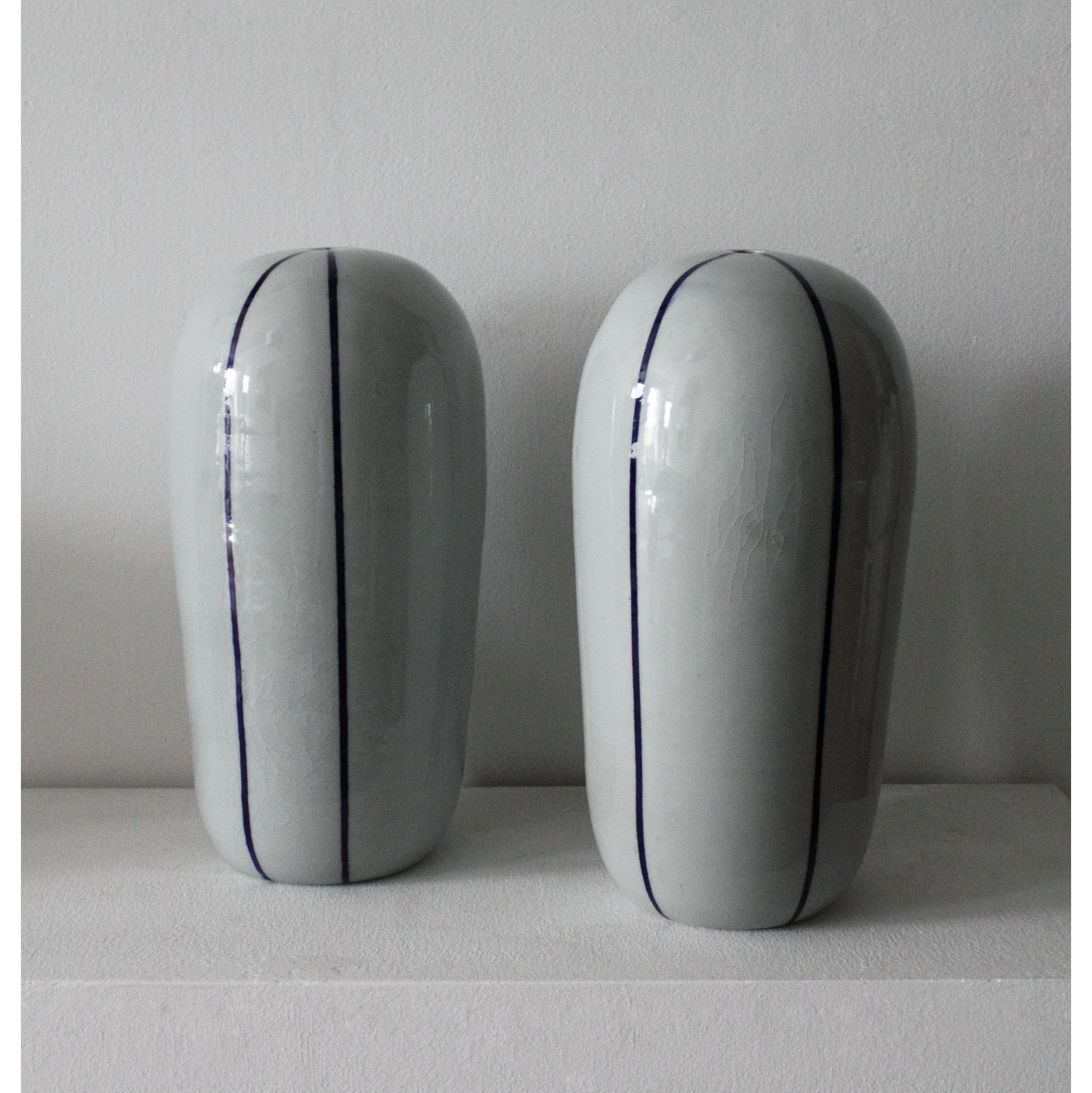 Striped Vessel/Lamp Base (Pair)