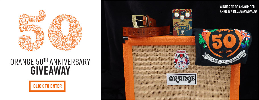 Giveaway includes: Rocker 32 Amp, Getaway Driver Overdrive, 50th Anniversary Orange T-Shirt, sweet-ass Orange belt.