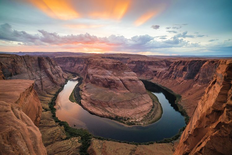 Sunset view of Horseshoe Bend