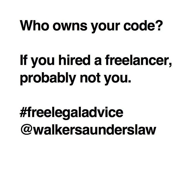 If your agreement does not contain a works-made-for-hire clause, there's a decent chance that you don't own the code you paid to have written. You should solve this problem now, before they make a movie about you, starring Jesse Eisenberg and Spider Man.  #freelegaladvice #law #lawyer #startup #software #venturecapital #sourcecode #copyright #intellectualproperty #freelance