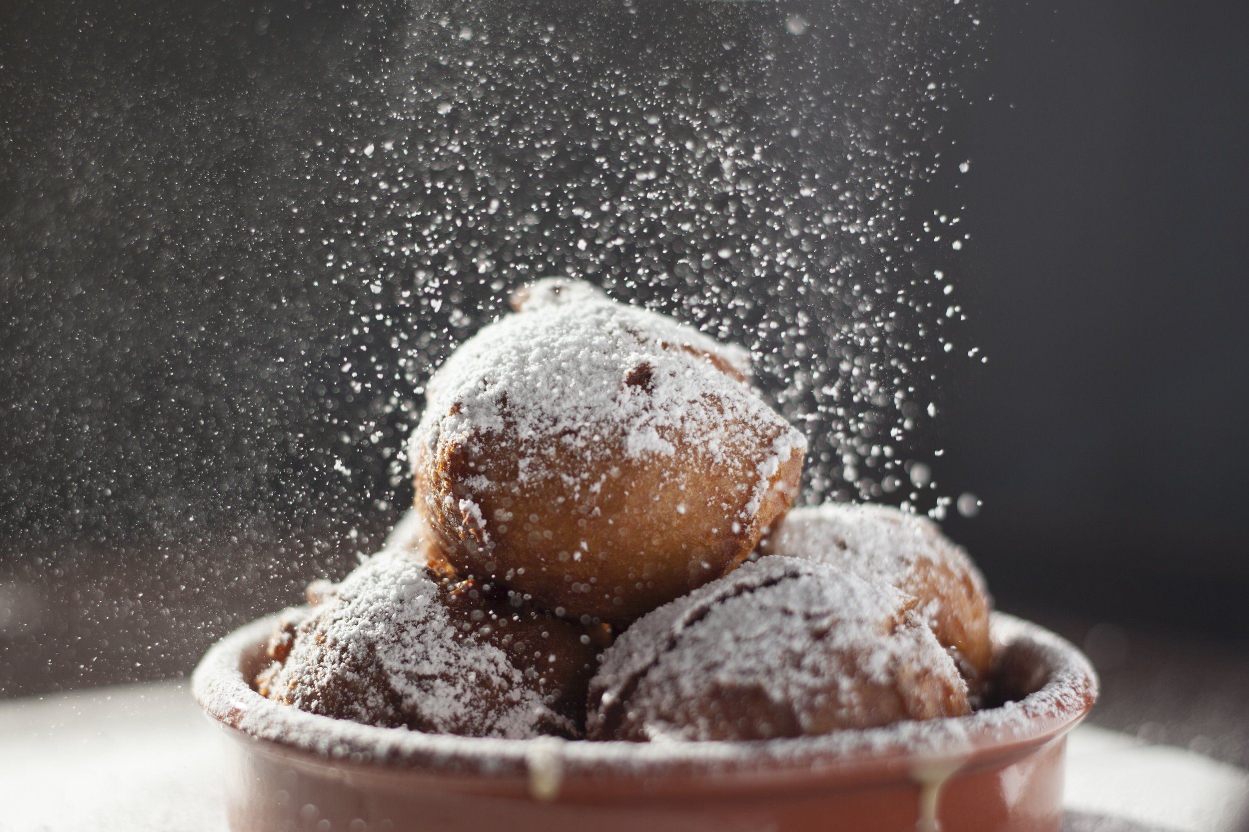 Pate a choux Beignets with powdered sugar