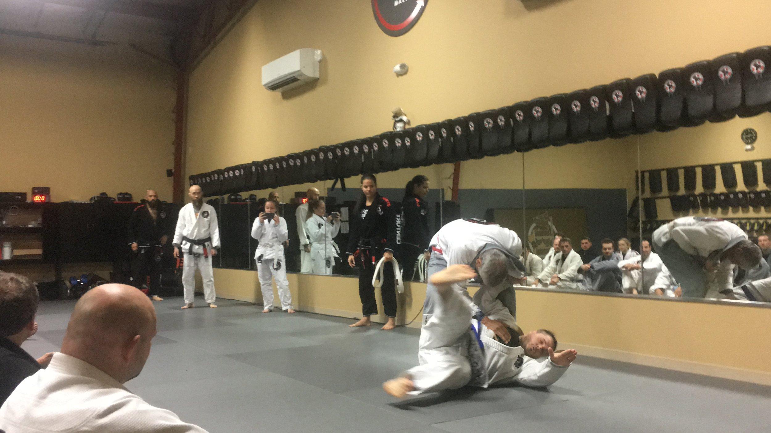 Master Marcio threw me using an Osoto Gari sweep. I managed to nail the breakfall, thankfully.