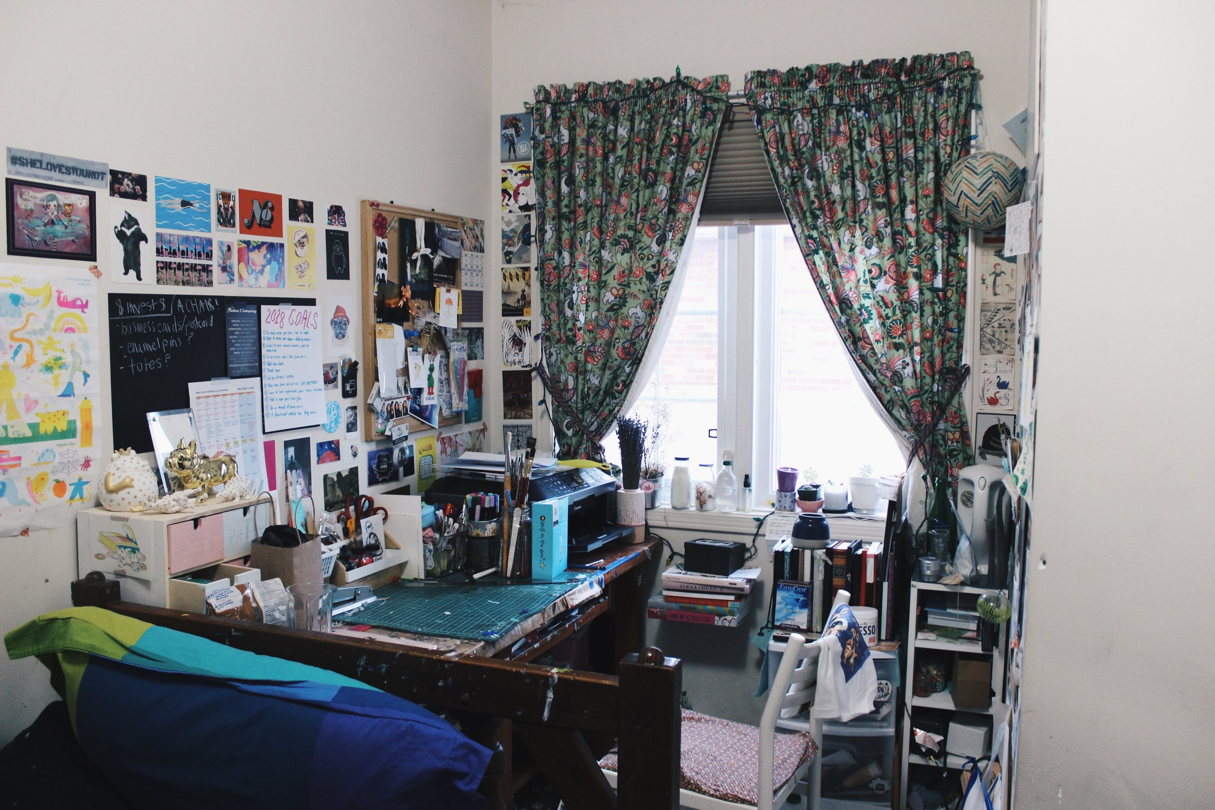 My room is 40% art workspace and 60% room.