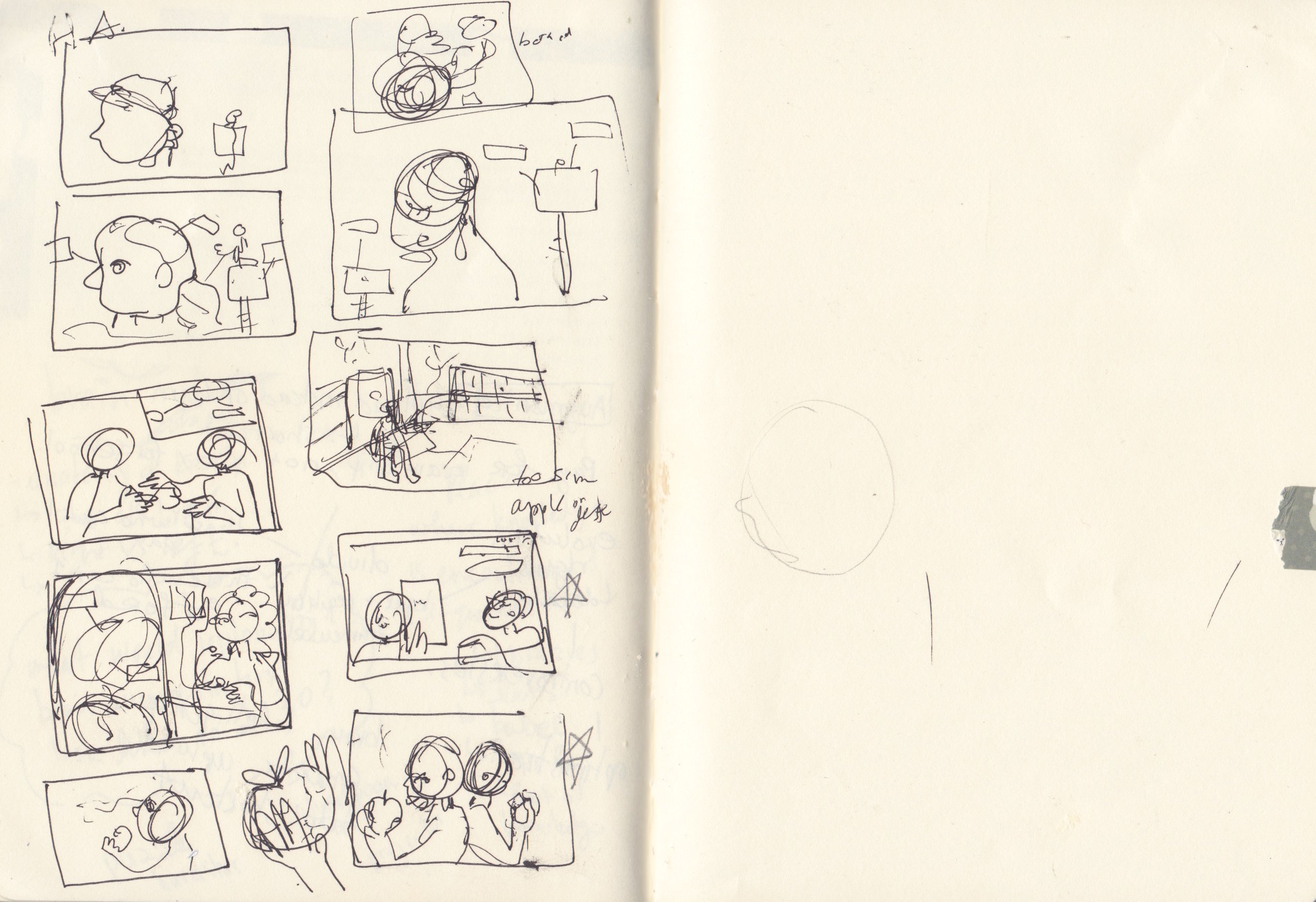"STEP TWO: THUMBNAIL SKETCHES.  These are really really rough and usually just to see something in my head on paper, look at composition and most importantly: build up from. To be honest, I would show these to profs as sketches in Uni! During this job, I didn't show this step as acceptable sketches to pitch. If you can tell, the main ideas I took from the mind-map/ brain-storm session were: the image of head being picked apart and decorated by tiny scientists, scientist creating their ideal knowledge upload like choosing stats for characters in DND/video games, A scientist as a librarian and the brain as a library, and using the ""fruit of knowledge"" concept from my good ol' catholic upbringing as a way to acquire new skill set. Can you tell? Maybe not, which is why I wouldn't present sketches at this stage."