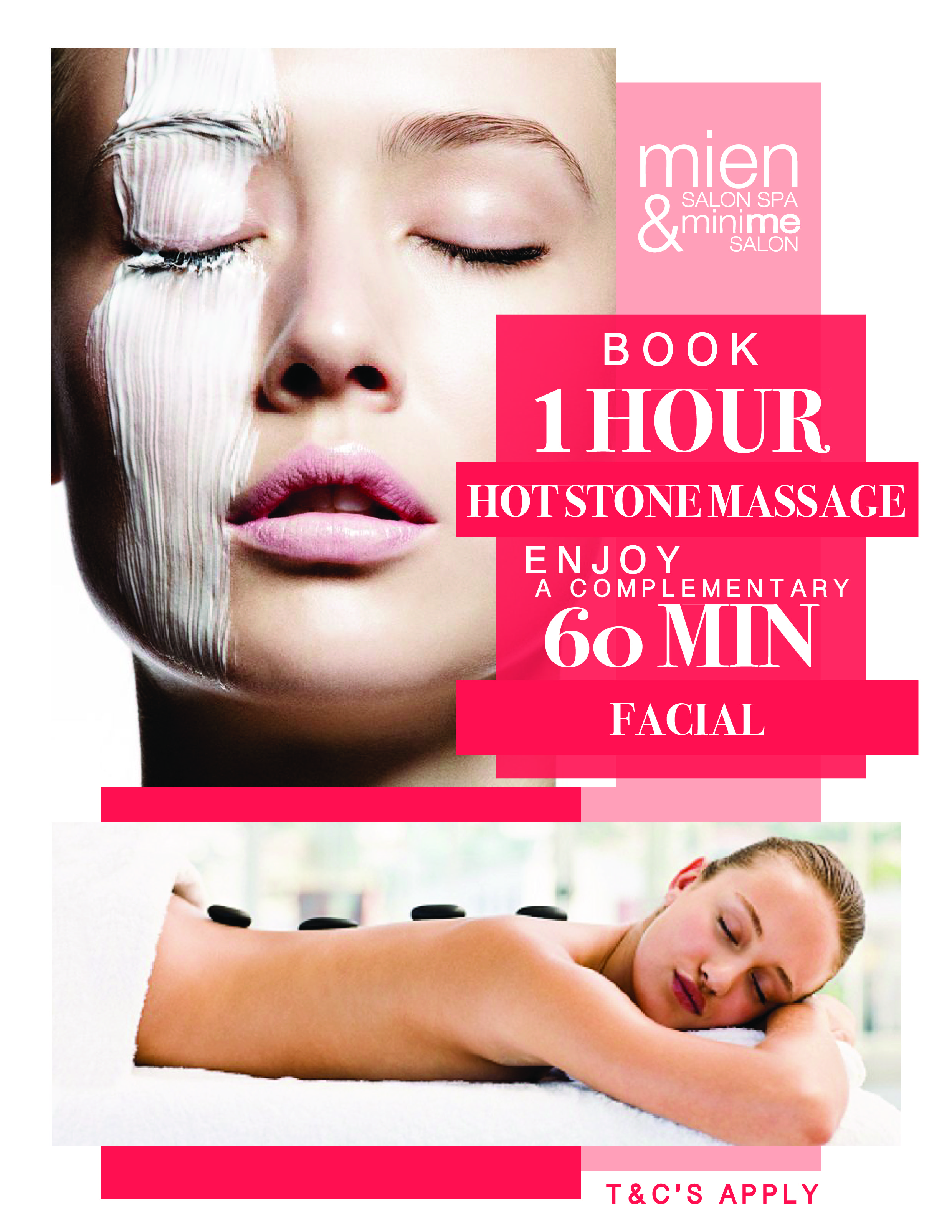 - Winter is here! And what better way to warm up with a hot stone massage.Book a 60min facial and receivea complimentary 30min hot stone back treatmentPROMO AVAILABLE FROM TODAY TILL 21ST JULYT&C'SBOOK NOWOR CALL 9482 9199